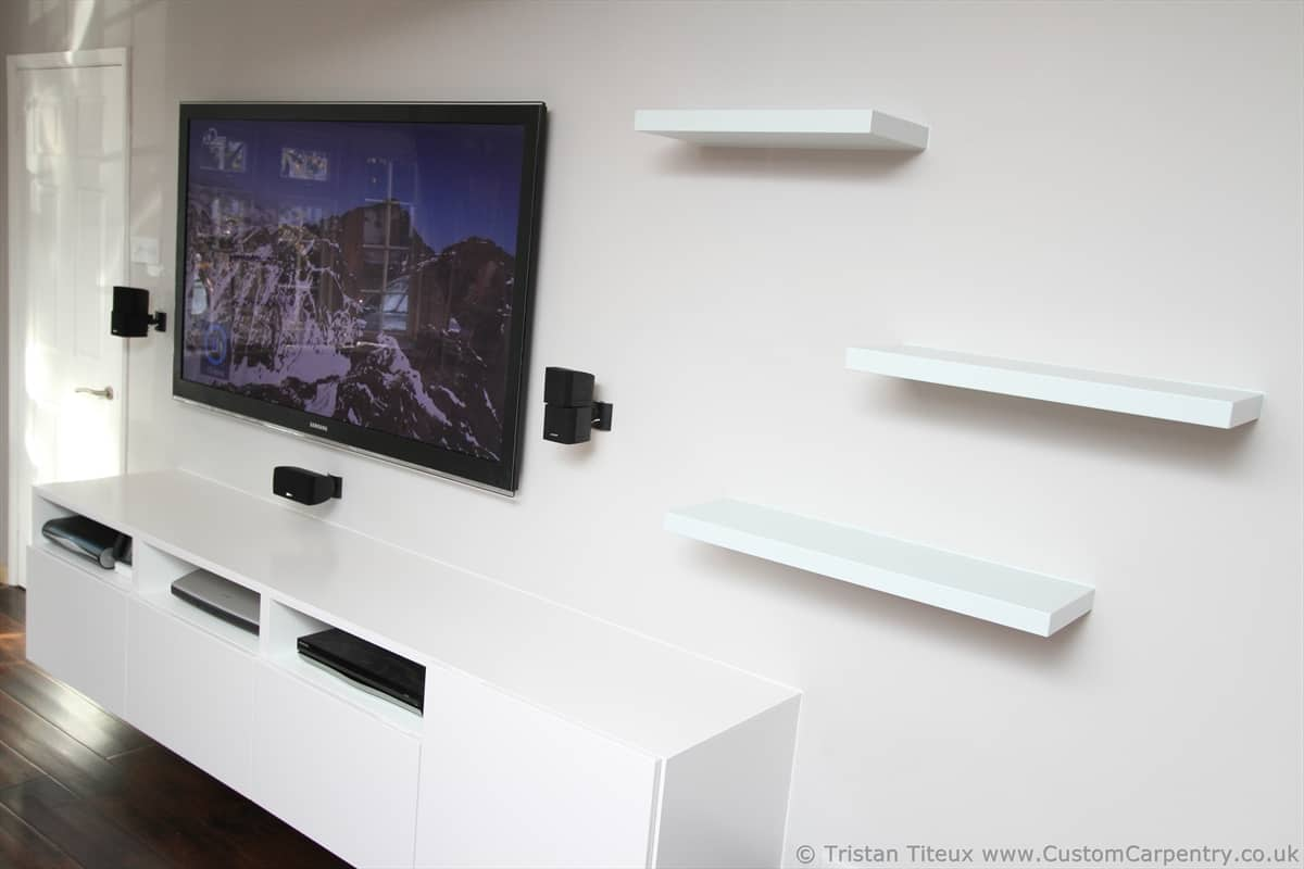 TV unit with floating shelves