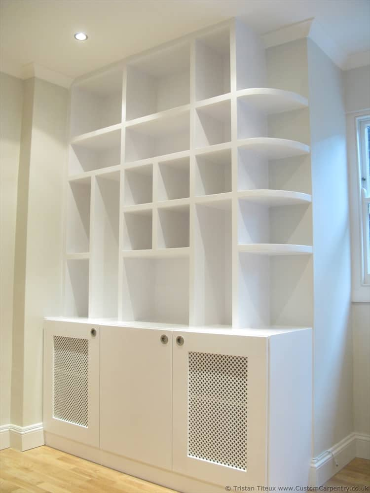 Bespoke shelves, hand painted white with random squares
