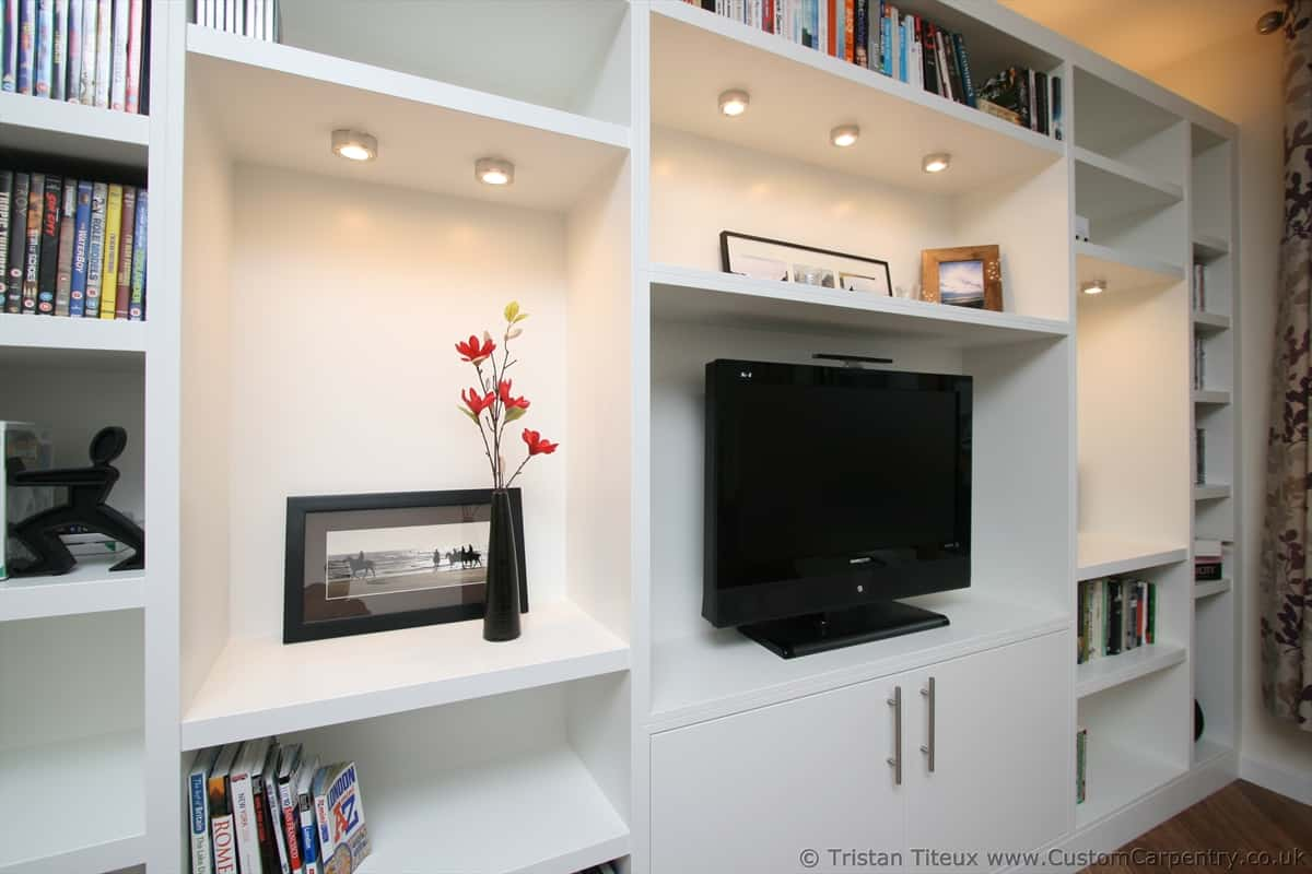 Bespoke shelving unit built from scratch in London, modern style with ornaments and books