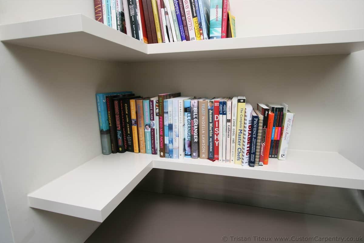 Corner Angled floating shelves by Custom Carpentry UK