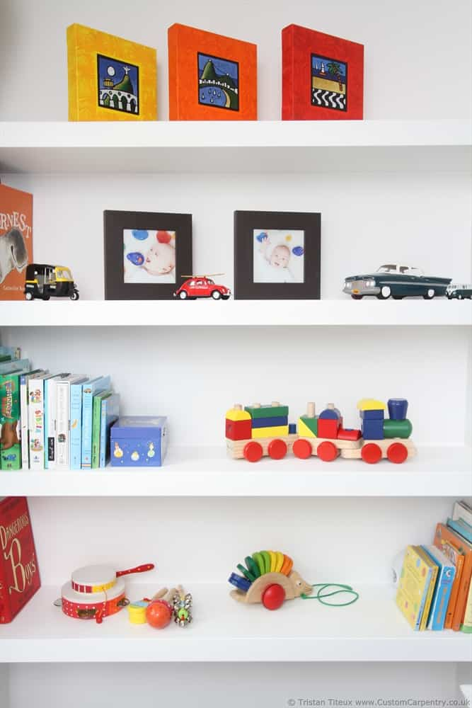 Fitted floating shelves empatika for Kids room shelves