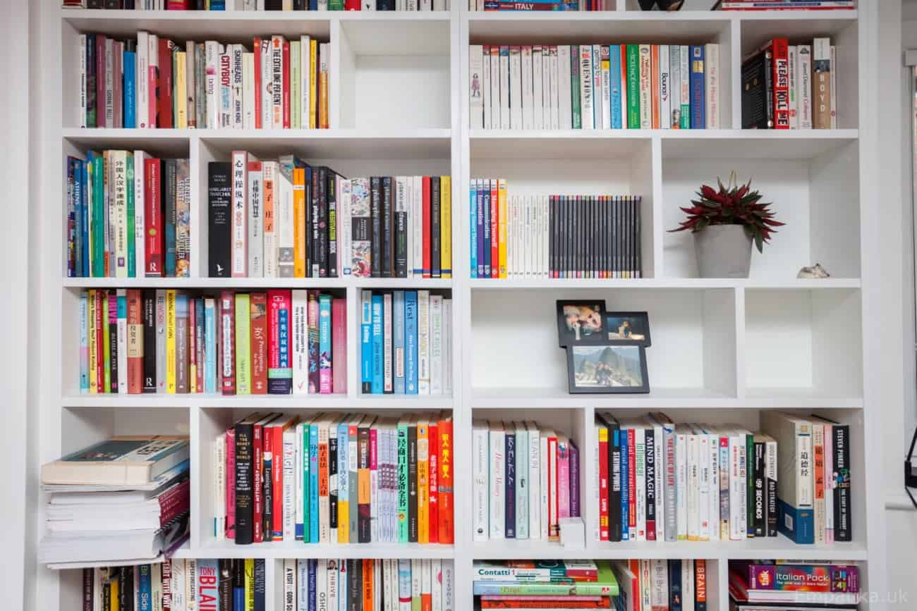 White melamine Random Bookcase